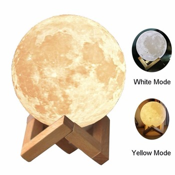 3D Moon Lamp 10CM 15CM Rechargeable Moon night lights 2 Color Change Touch Switch Romantic Ambiance Light Touch Pat Lamp