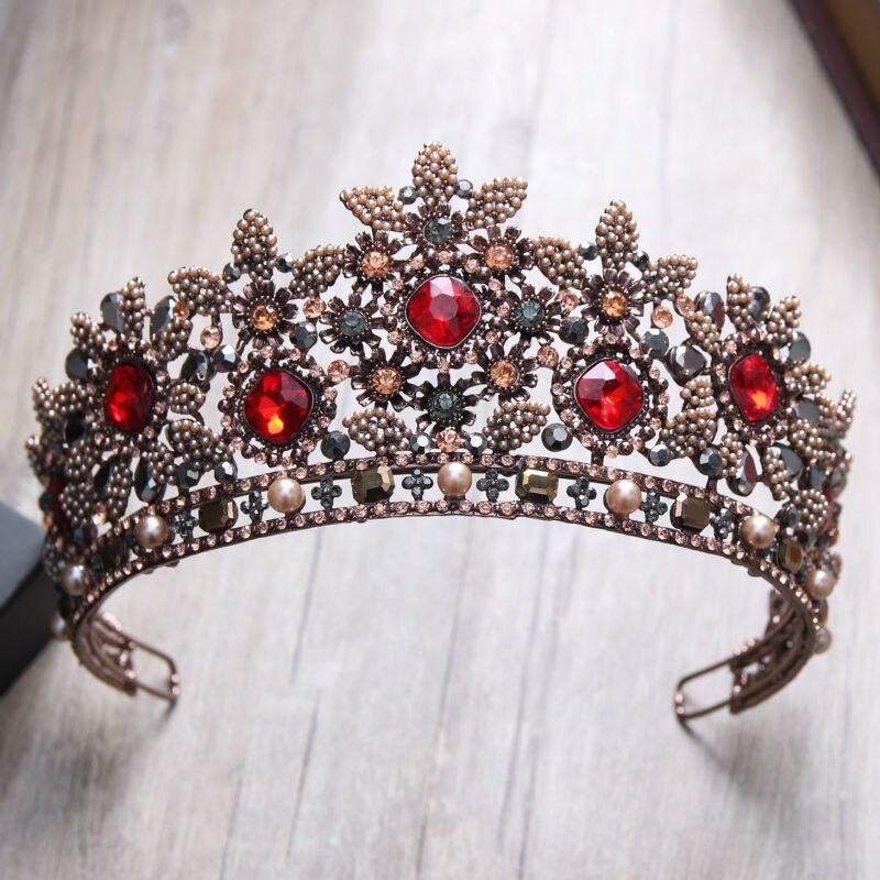 Style européen rétro Baroque cristal gemme couronne cape banquet mariée robe photo studio séances photo