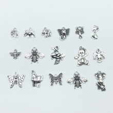 Mixed 30pcs Tibetan silver Russian two-headed eagle bees elephant butterfly frog monkey scorpion cat dragonfly Charm pendant