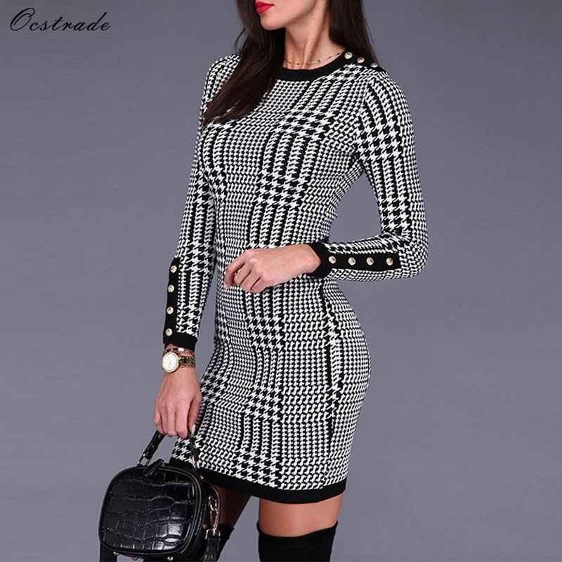 Ocstrade черный круглый вырез с длинным рукавом Мини Ласточка балка на пуговицах тяжелое Бандажное платье SW057-Black