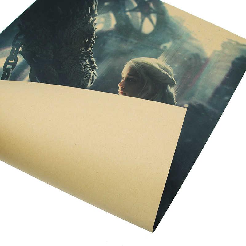 DLKKLB משחק של הכס פוסטר בציר קראפט נייר קלאסי טלוויזיה סדרת פוסטר בר קפה ציור דקורטיבי קיר מדבקת 50.5X35 cm