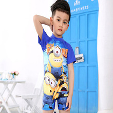 2016 Cartoon Minions Despicable Me Wetsuits Sports Entertainment Sportswear One-Piece Suits For Boys Babys Kids