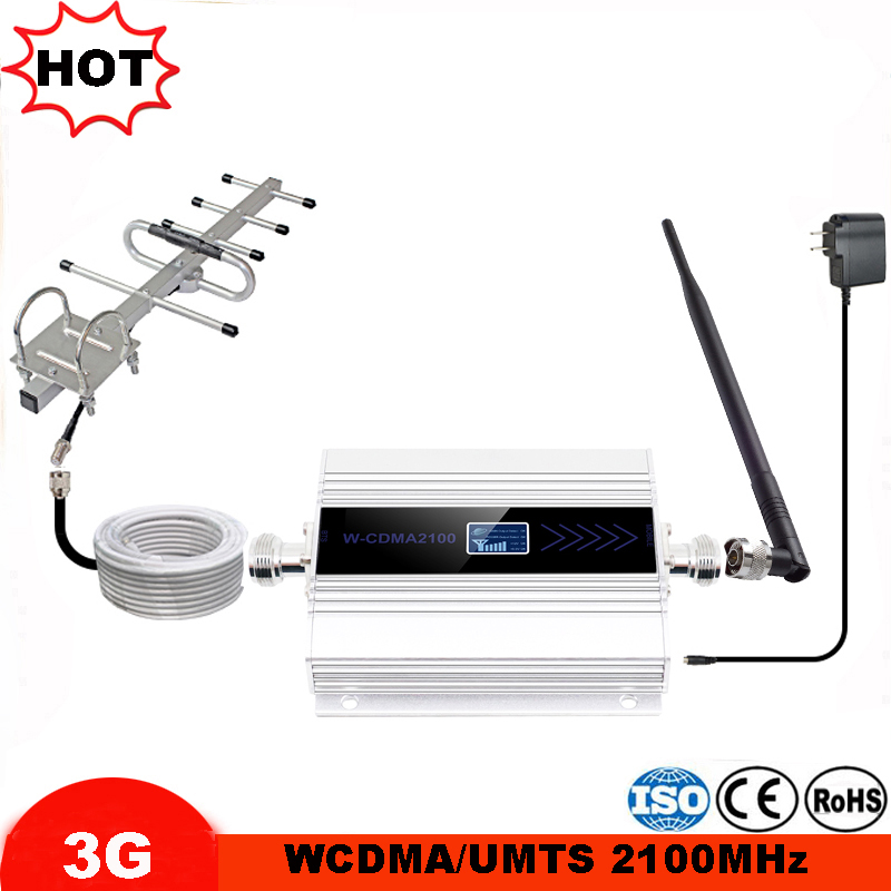 LCD Display Cellphone 3G Repeater Mobile Phone W-cdma 2100mhz UMTS Cellular Signal Booster Signal Amplifier With 3g Yagi Antenna