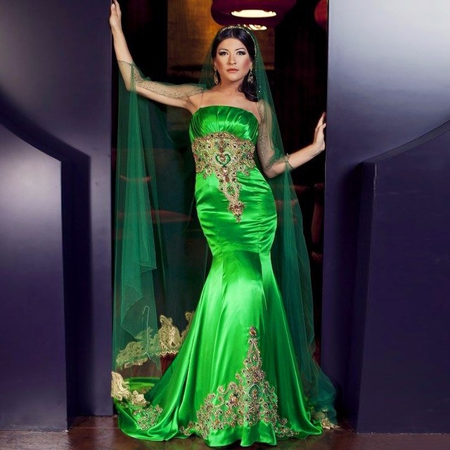 Fashion Indian Evening Dress Emerald Saudi Arabia Middle East Long Formal Gown Wedding Women Dresses