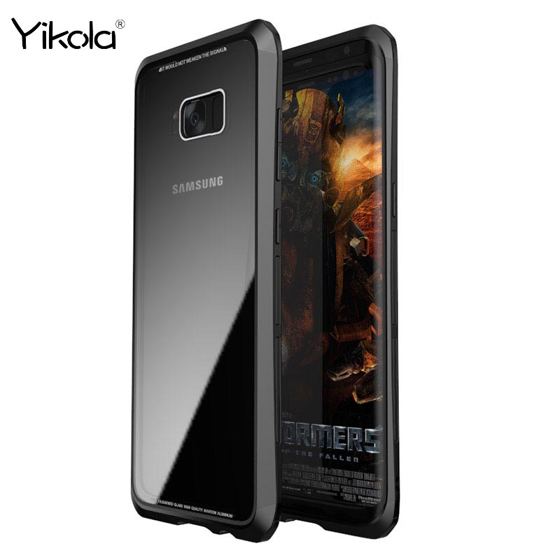 Shockproof Cellphone Shell Luphie Luxury Metal Bumper+Tempered Glass Cover Case For Samsung S8 S8 Plus Case