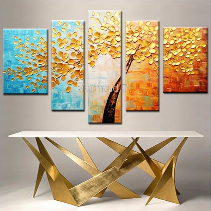 Hand Painted Modern Blue Gustav Klimt Tree Of Life Abstract Oil Painting On Canvas Picture 5 Panel Wall Art Home Decor