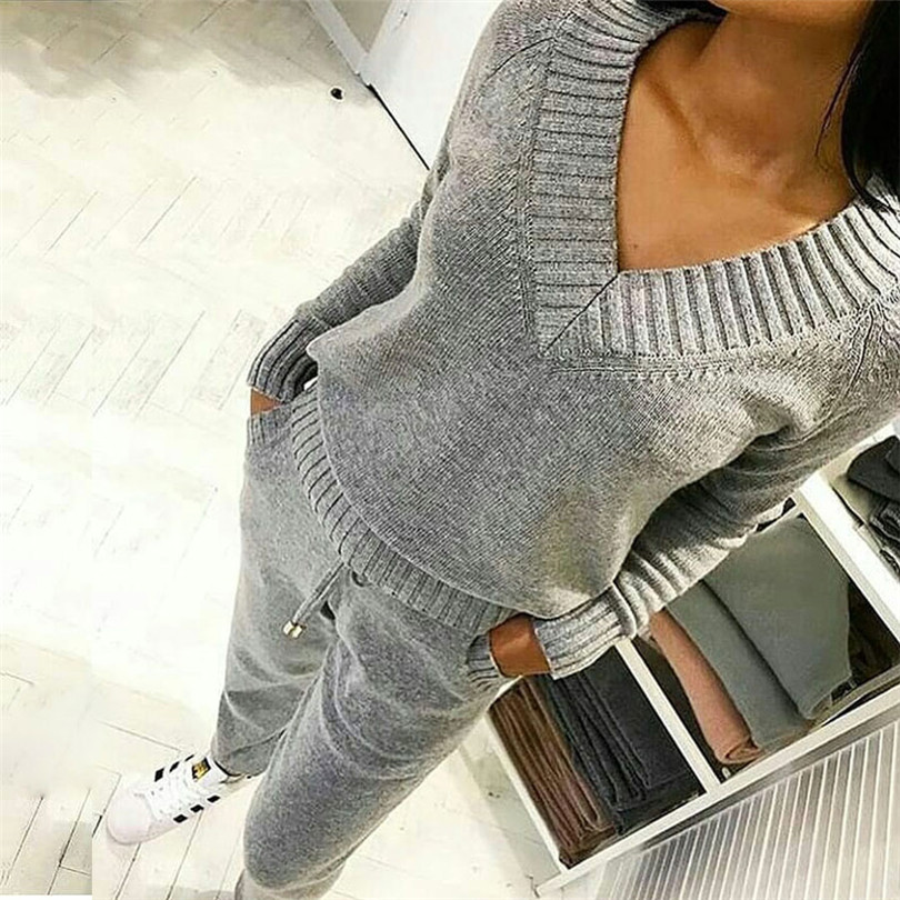 Taotrees Women's V-neck Wool Warm Sweaters Suits Knitted Sets Long Sleeve Pullover Sweater Elastic Waist Pants 2PCS Set