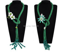 green stone flower necklace wholesale bead nature cheaper fashion gift 27inch shell