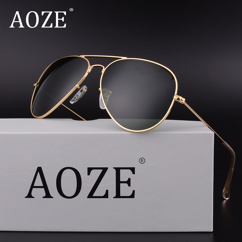 AOZE Luxury Classic Brand men women driving glass lenses Gradient Aviator font b sunglasses b font