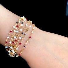 hecho a mano Original agua fresca barroca perla pulsera ajustable para mujer boda joyería Femme