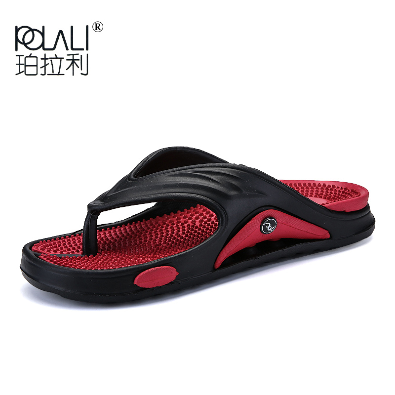 2019 Big Size Fashion Massage Men Slipper Shoes Summer Water Male Sandals High Quality Flat Beach Shoes Non-slip Mens Flip Flop(China)