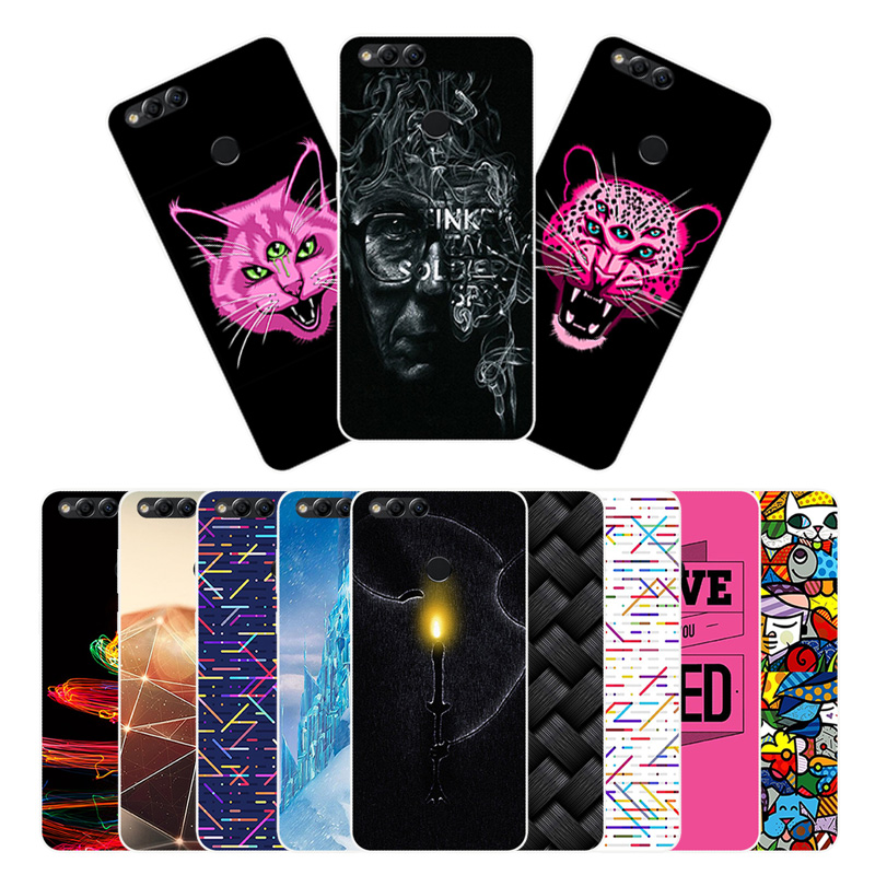 5.93 inch for Huawei Honor 7X Soft Black Back Matte Bridge Cover Case for Capa Huawei Honor 7X TPU Silicon Full Protector Shell