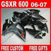 100 Brand New Fairings For SUZUKI 2006 2007 Black Gray GSXR 600 750 K6 BACARDI Motorcycle