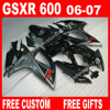 100 Brand New Fairings For SUZUKI 2006 2007 Black Gray GSXR 600 750 K6 BACARDI Motorcycle