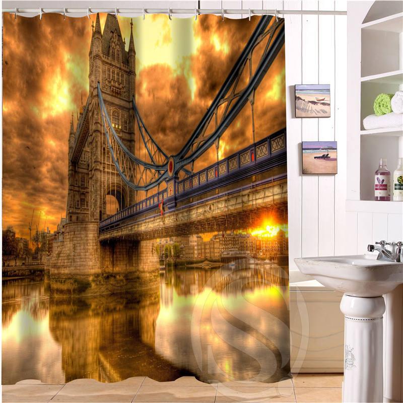 Free Shipping London Tower Bridge Custom Shower Curtain MORE SIZE Waterproof Fabric Shower Curtain for Bathroom SQ0520-T11