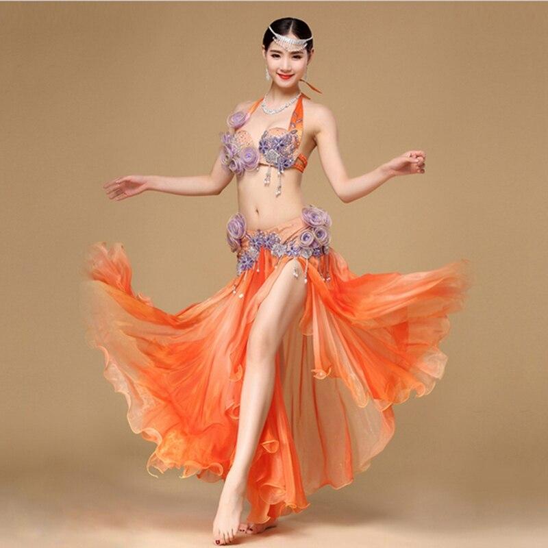 Donne Dancewear Prestazioni Egiziano danza del Ventre Vestiti Vestito C/D Coppa Maxi Gonna Arancione Danza Del Ventre Costume Set 2 pz