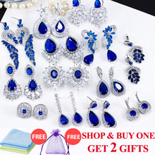 ThreeGraces Noble Big Cubic Zirconia Dark Blue Crystal Earring for Women Statement Round Flower Dangle Teardrop Earrings ER011