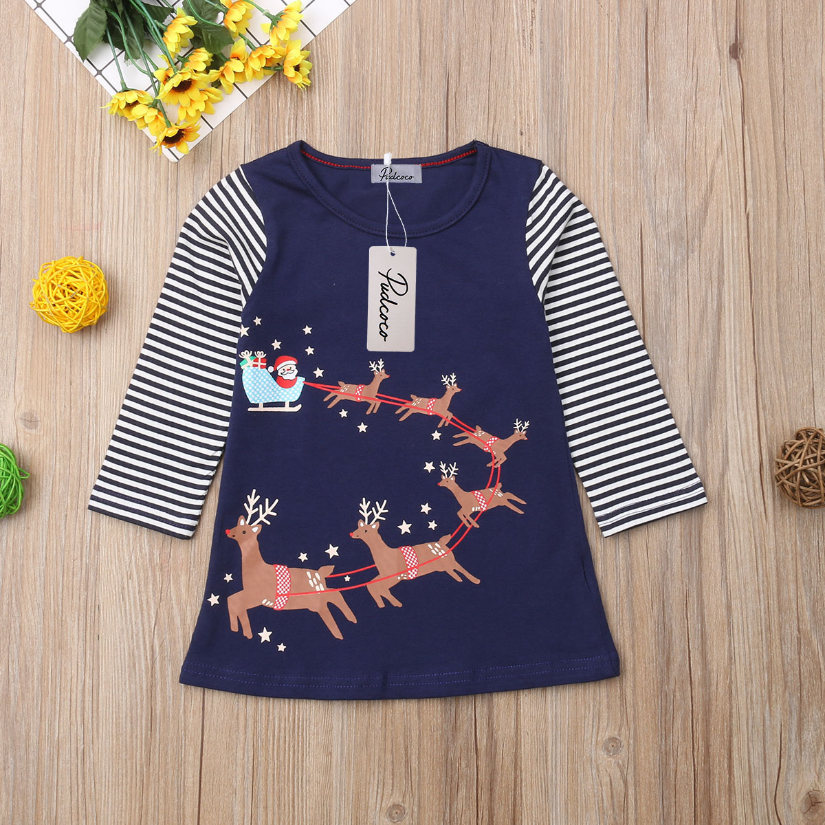 41338ede3 Cotton Kids Baby Princess Girl Dress Long Sleeve Christmas Party ...