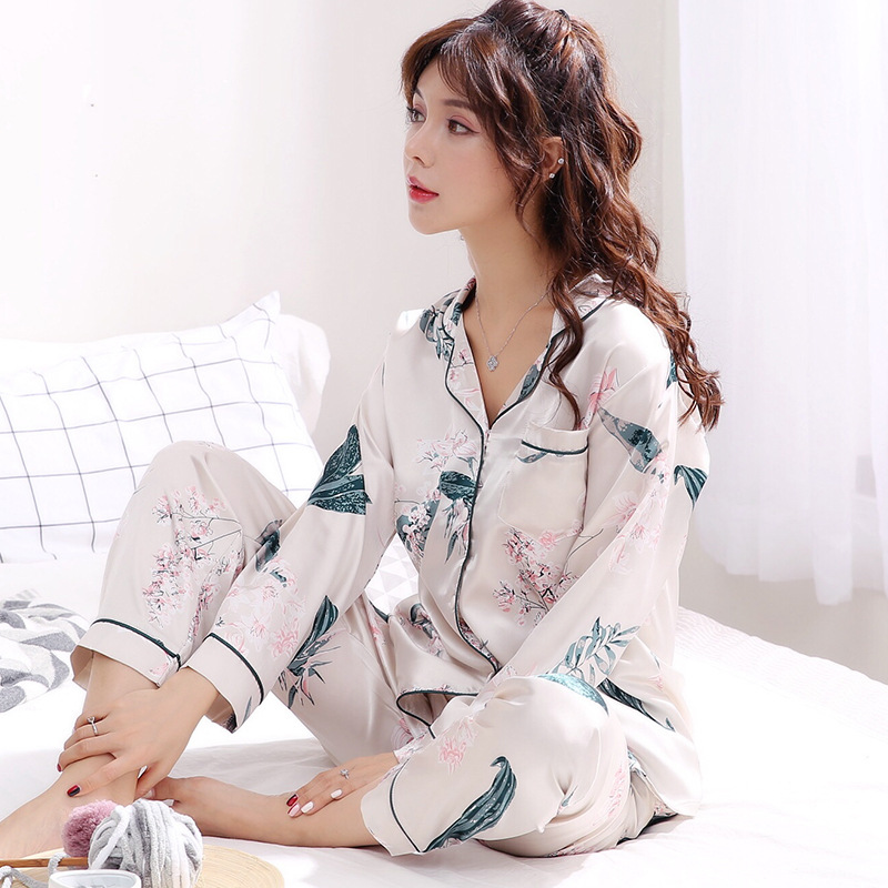 Autumn Emulation Silk Pajamas Stes Women s Winter Ice Silk Long Sleeve Shirt Two Sets Woman