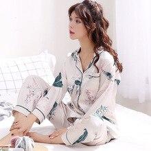Autumn Emulation Silk Pajamas Stes Women's Winter Ice Silk Long Sleeve Shirt Two Sets Woman Nightgowns Pyjama Sleep Lounge XXXL
