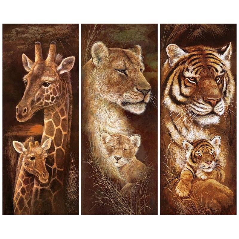 Tier Diamant Stickerei 5D DIY Diamant Malerei Weihnachten Tigers Und Giraffen Kreuzstich Voller Strass Mosaic