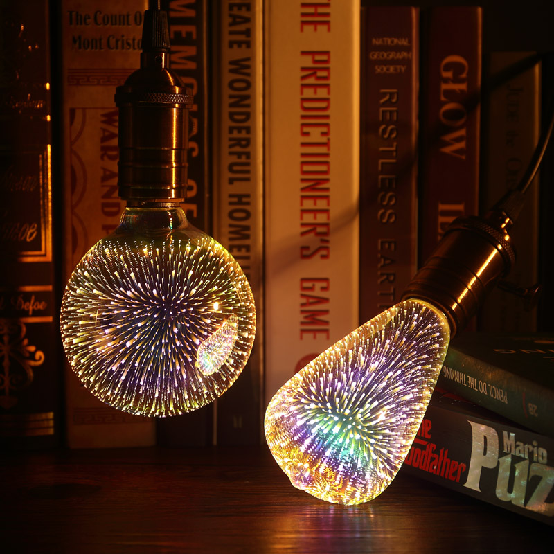 CHICLITS LED Light Bulb E27 220v 3W A60/ST64/G80 3D Colorful Spiral Decoration Bulb For Holiday Party Christmas Novelty Lamp