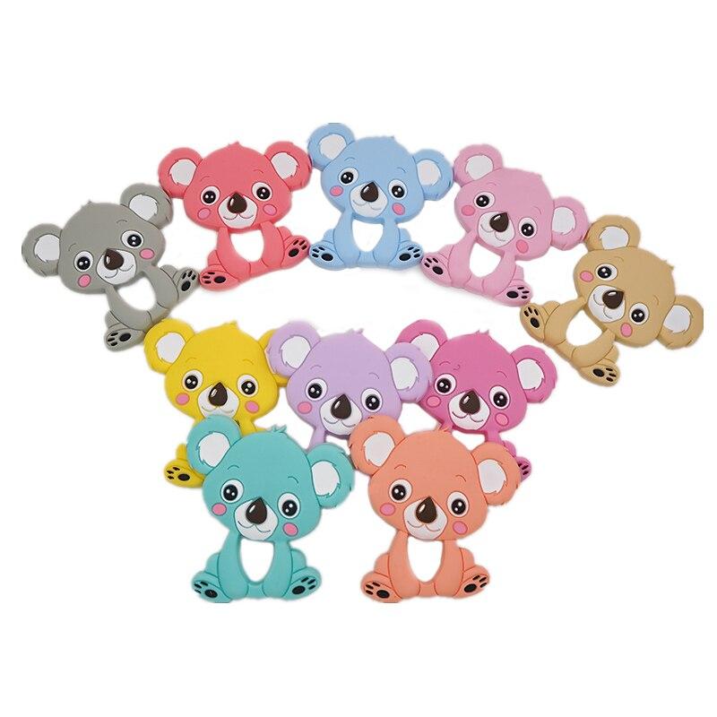 Chenkai 10PCS Koala Silicone Teether Infant Teething Pacifier Pendant Baby Chew Toys Food Grade Freeship