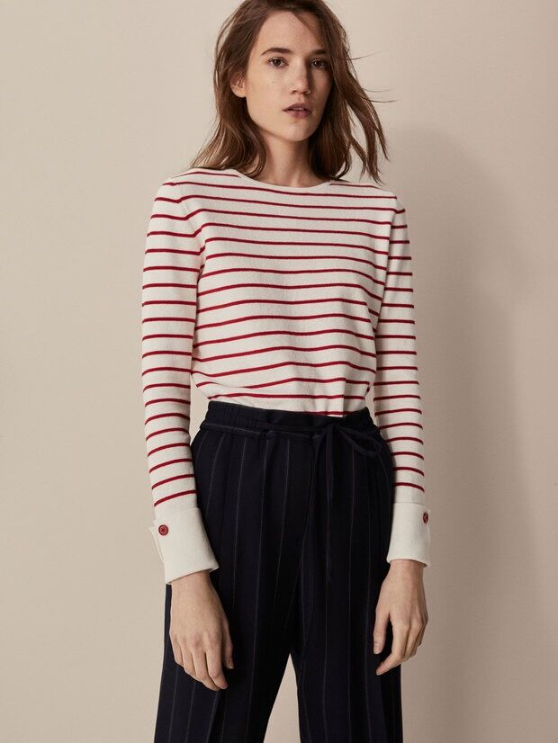 New Spring Summer Slim Boat Neck Striped Knitwear with Cuff cuffs