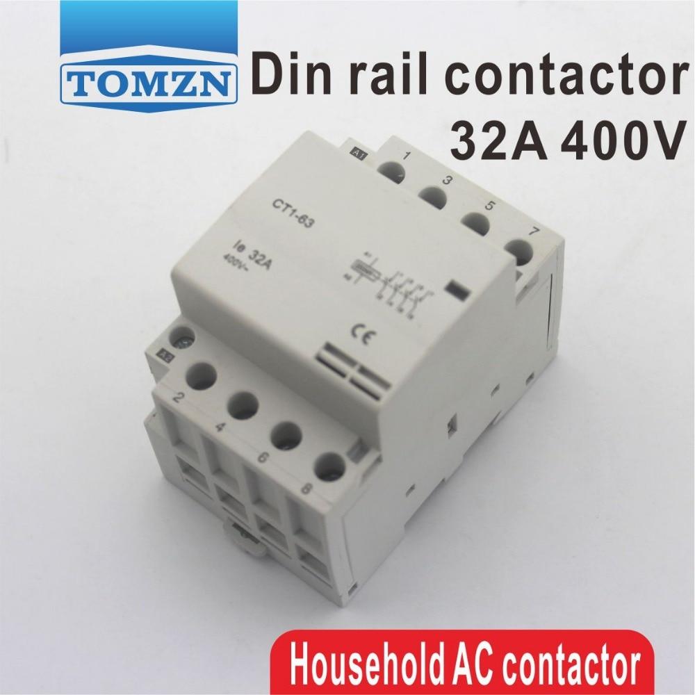 CT1 4P 32A 220V 400V~ 50/60HZ Din rail Household ac Modular contactor 4NOCT1 4P 32A 220V 400V~ 50/60HZ Din rail Household ac Modular contactor 4NO