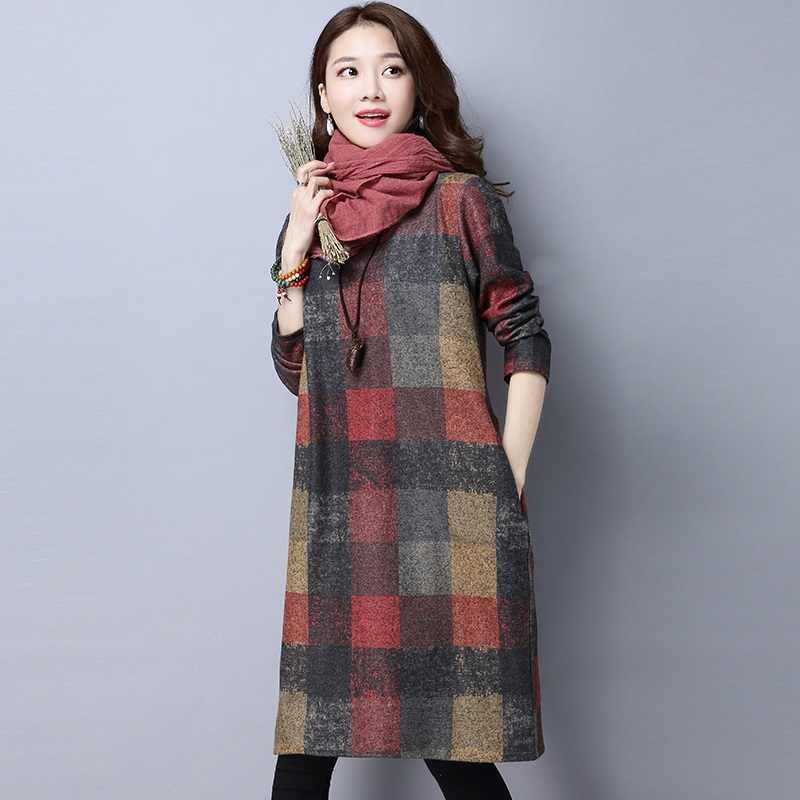 Длинный рукав хлопок шерстяное плюс размер винтажное женское повседневное свободное миди осенне-зимнее платье Элегантная одежда 2019 женские платья