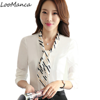 2017 New Elegant Long Sleeve Bow Women Shirt Formal Office Blusas White Chiffon Blouse Office Ladies