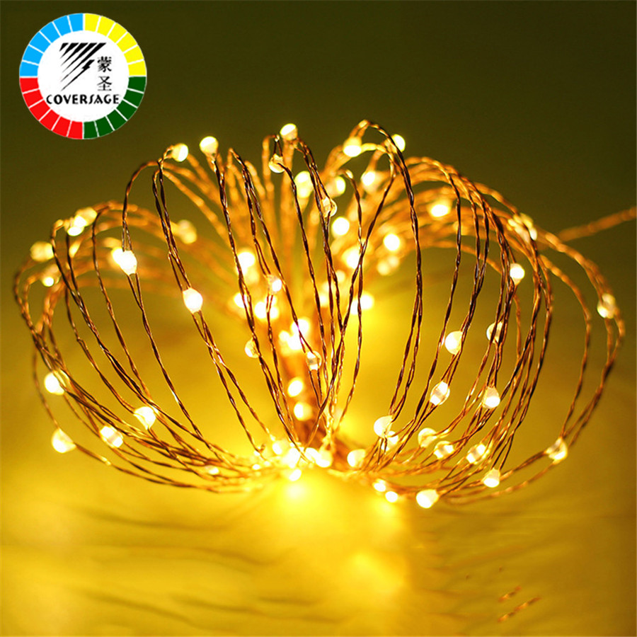 Coversage 5M 50 Leds Copper Wire Christmas Tree Decoration Xmas Garland Fairy Battery Lights Warm White RGB Curtain Led String
