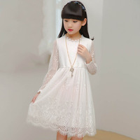 קיץ ילדים בנות בנות שרוול ארוך פרחוני אירופאי אלגנטי שמלות תחרות לנערות 10 11 שנה די לבן שמלות ילדים