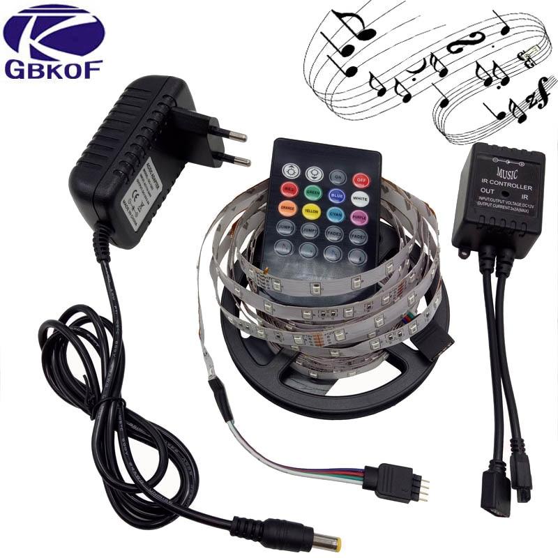 5M Music IP65/non-waterproof 2835/3528 RGB LED Strip light christmas 3528 RGB Light Led Tape+IR Music Remote Controller Full Set