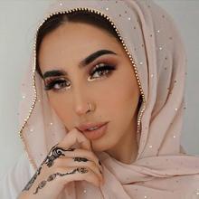 1 шт. Новое поступление простой Шикарный шифоновый хиджаб шарф Шиммер с кристальной цепочкой Окантованный шарф мусульманские шарфы хиджабы