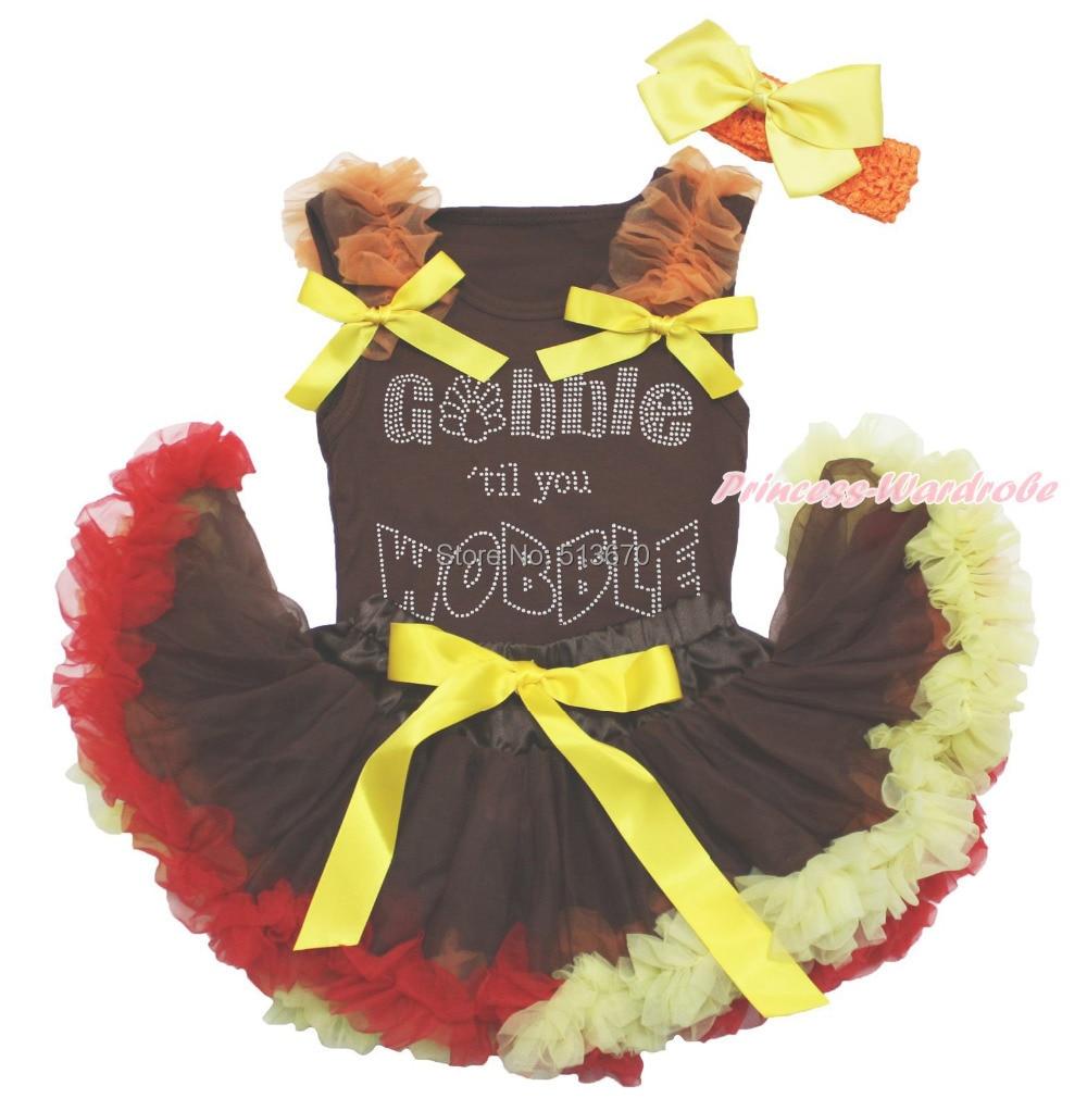 Thanksgiving Rhinestone Gobble Wobble Top Newborn Skirt Baby Costume NB-12Month MAPSA0021 0 12month baby girls