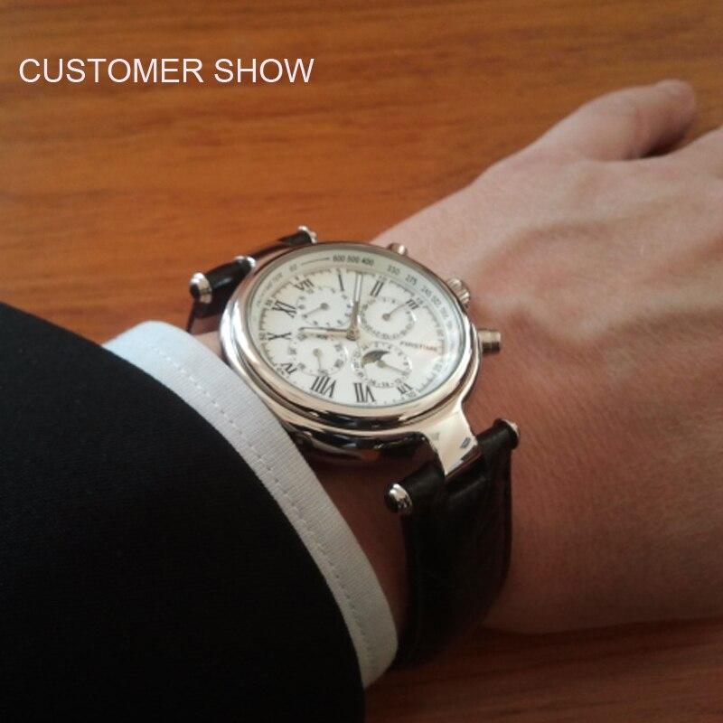 Célèbre marque en acier inoxydable montre de luxe hommes montre automatique montres mécaniques Phase de lune montres mécaniques cadeau de noël - 5