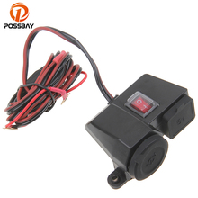 POSSBAY Motorcycle Waterproof Adapter Dual USB Cell Phone GPS Cigarette Lighter Charger On/Off Switch