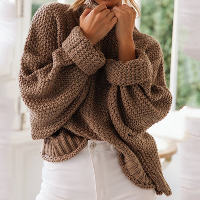 Turtleneck Pullover Women Sweaters 2019 Autumn Winter Sweaters Knitted Solid Color Loose Knit Pullover Female Loose Jumper