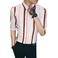 LOLDEAL Thick Stripe Shirt Men Summer Fashion Casual Half Sleeve Skinny Dress Male