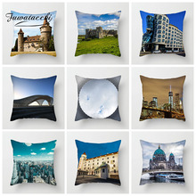 Fuwatacchi Architecture Scenic Cushion Cover Printed Castle Venice Pillows Cover Decoration For Car Home Sofa Pillowcase цены