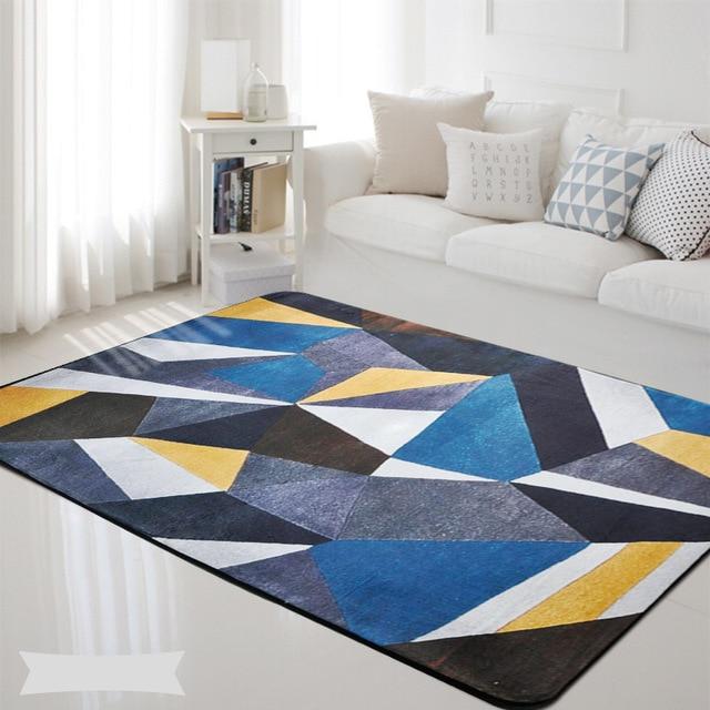 black bedroom rug black faux fur blue gray yellow black geometric rectangle carpet nordic bedroom rug living room kids baby mat