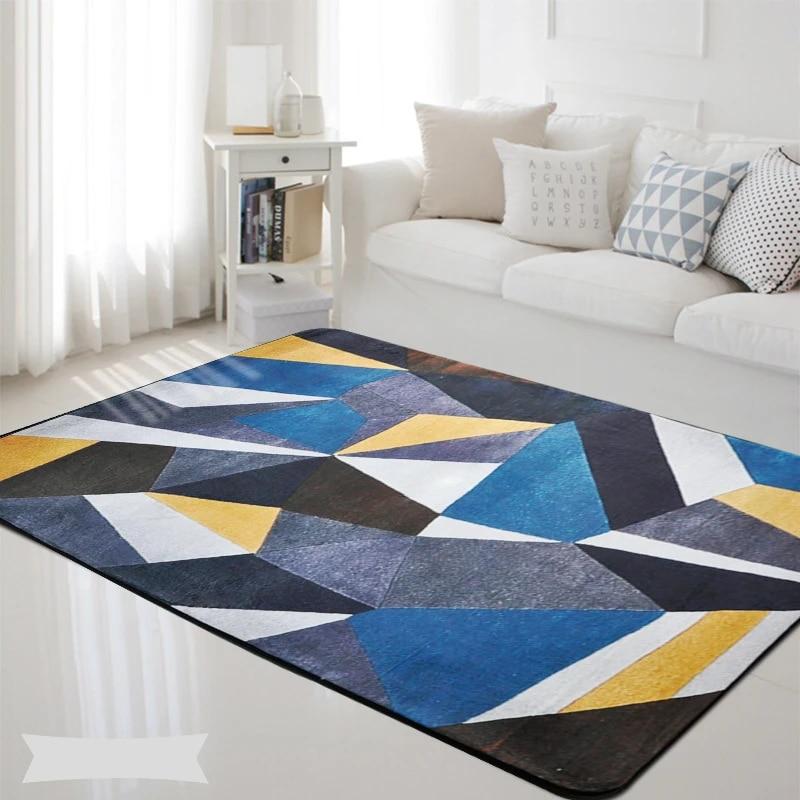 tapis rectangulaire geometrique antiderapant bleu gris jaune noir pour chambre a coucher nordique salon chambre d enfants jeu d exterieur