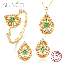 ALLNOEL Emerald Jewelry Natural Green Sets for Women Solid 925 Sterling Silver Ring Pendant Necklace Stud Earrings Hollow Gift
