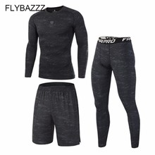 Top Quality Men's Sports Suits Quick Dry Gym Running Sets Tights Clothes Compression Sports Joggers Training Fitness Tracksuits vansydical boy s sports suits breathable compression running tights 3 pcs basketball training sets quick dry soccer kids kits