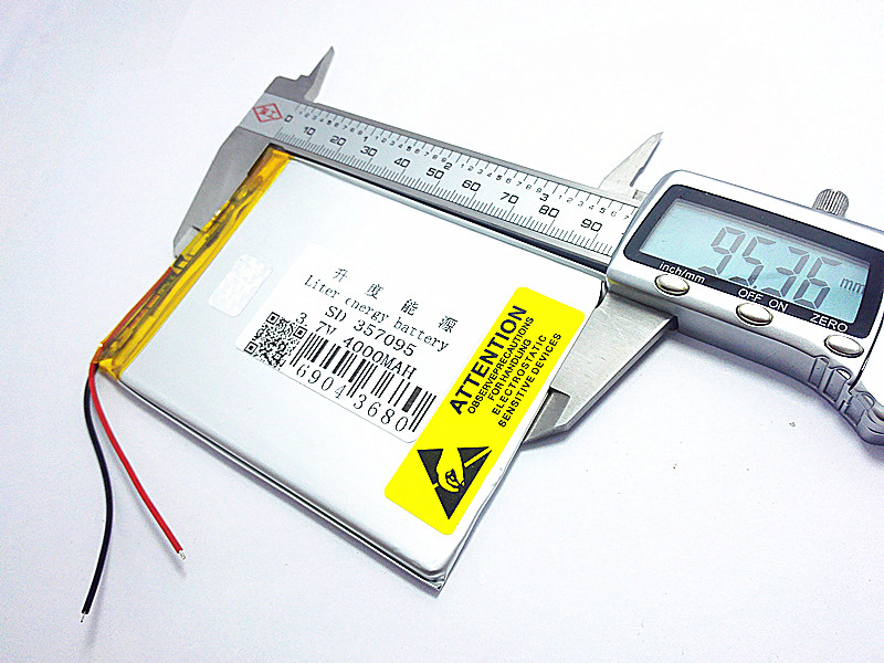 3.7V 4000mah (polymer lithium ion battery) Li-ion battery for tablet pc 7 inch MP3 MP4 [357095] Free Shipping on polymer battery 3 7v 502030 ext mp3 shaking his stick bluetooth watch 052030 lithium battery