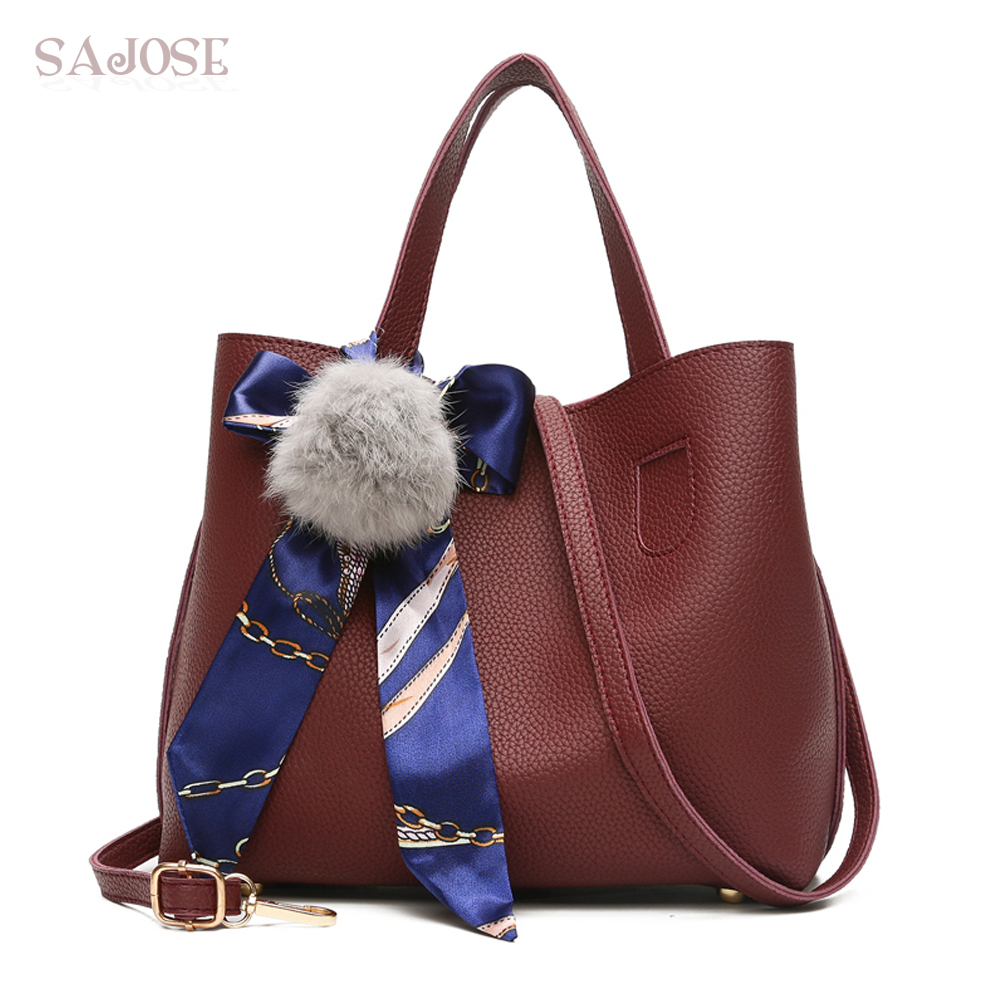 Litchi Pattern Soft Leather Women Handbag Two Pieces Female Shoulder Bag Girls Messenger Bag Casual Wome Tote Bag DropShipping ...