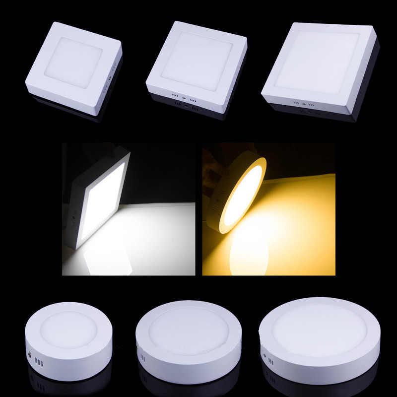 Круглый/Квадратный светодиодный светильник 6 Вт/12 Вт/18 Вт/24 Вт поверхностного монтажа светодиодный потолочный светильник для ванной комнаты AC85-265V Ламповые светодиодные лампы