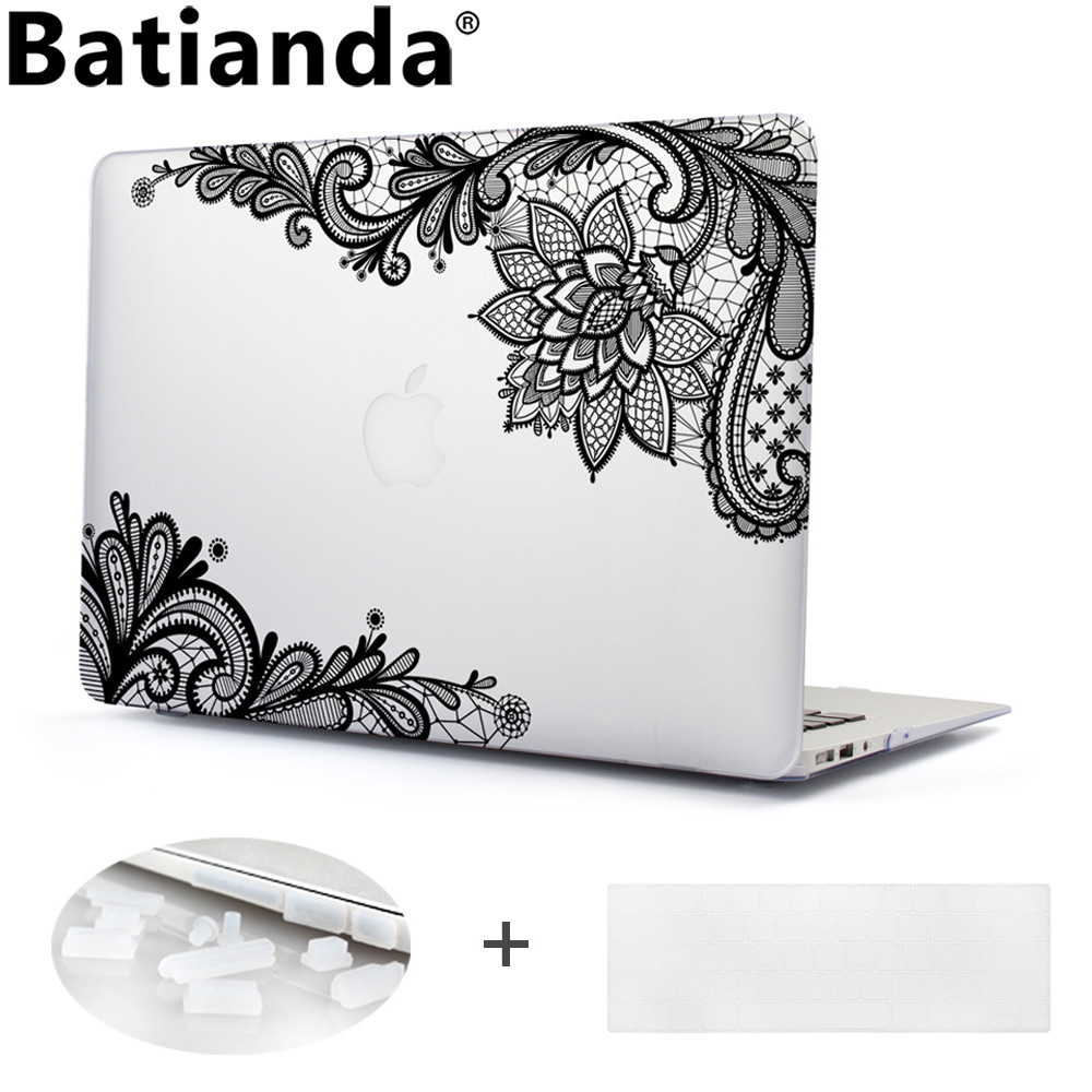 все цены на  Batianda Floral Lace Air 11 12 13 Pro 13 15 Frosted Matte Hard Case Cover for MacBook Pro 13.3 15.4'' Retina 2016 2017 A1706  онлайн