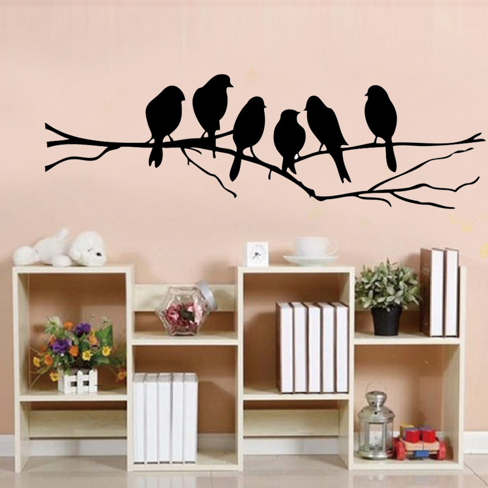 85*26cm diy adesivos de parede decalque removível preto pássaro árvore ramo arte casa mural adesivo de parede casa sala estar escritório decoração